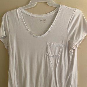 **3 FOR $10 PROMO** White Pocket scoop neck Tshirt